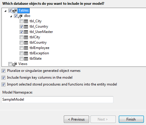 Selecting Database Objects