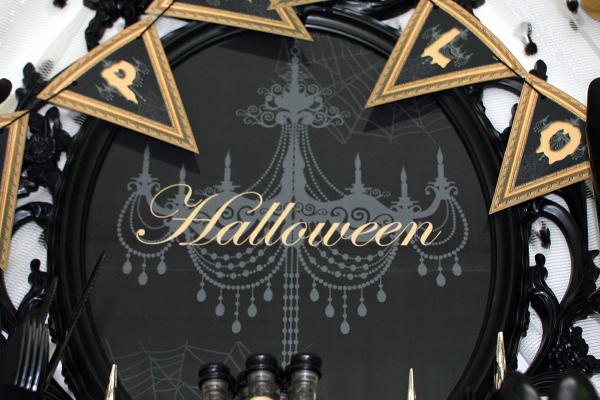 Halloween Bild als Hintergrund des Buffets