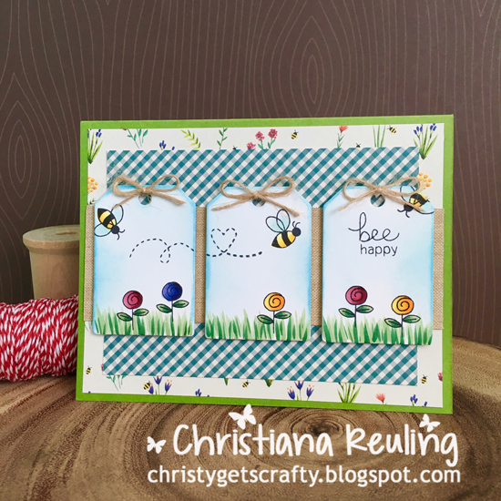 Bee Happy card by Christiana Reuling | Winston's Honeybees stamp set by Newton's Nook Designs #newtonsnook #bee