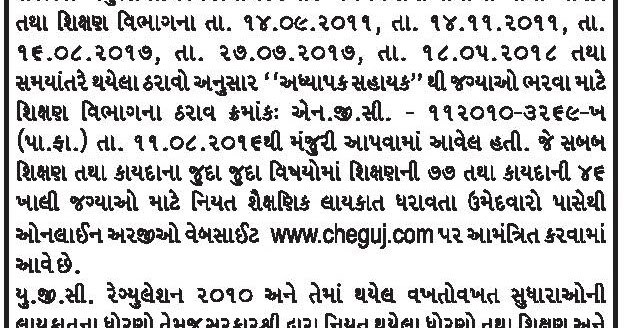 Commissionerate of Higher Education, Gujarat Recruitment