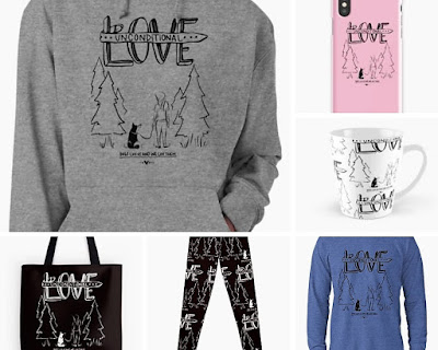 Sweatshirts, t shirts, tote bags, leggings with Unconditional Love design