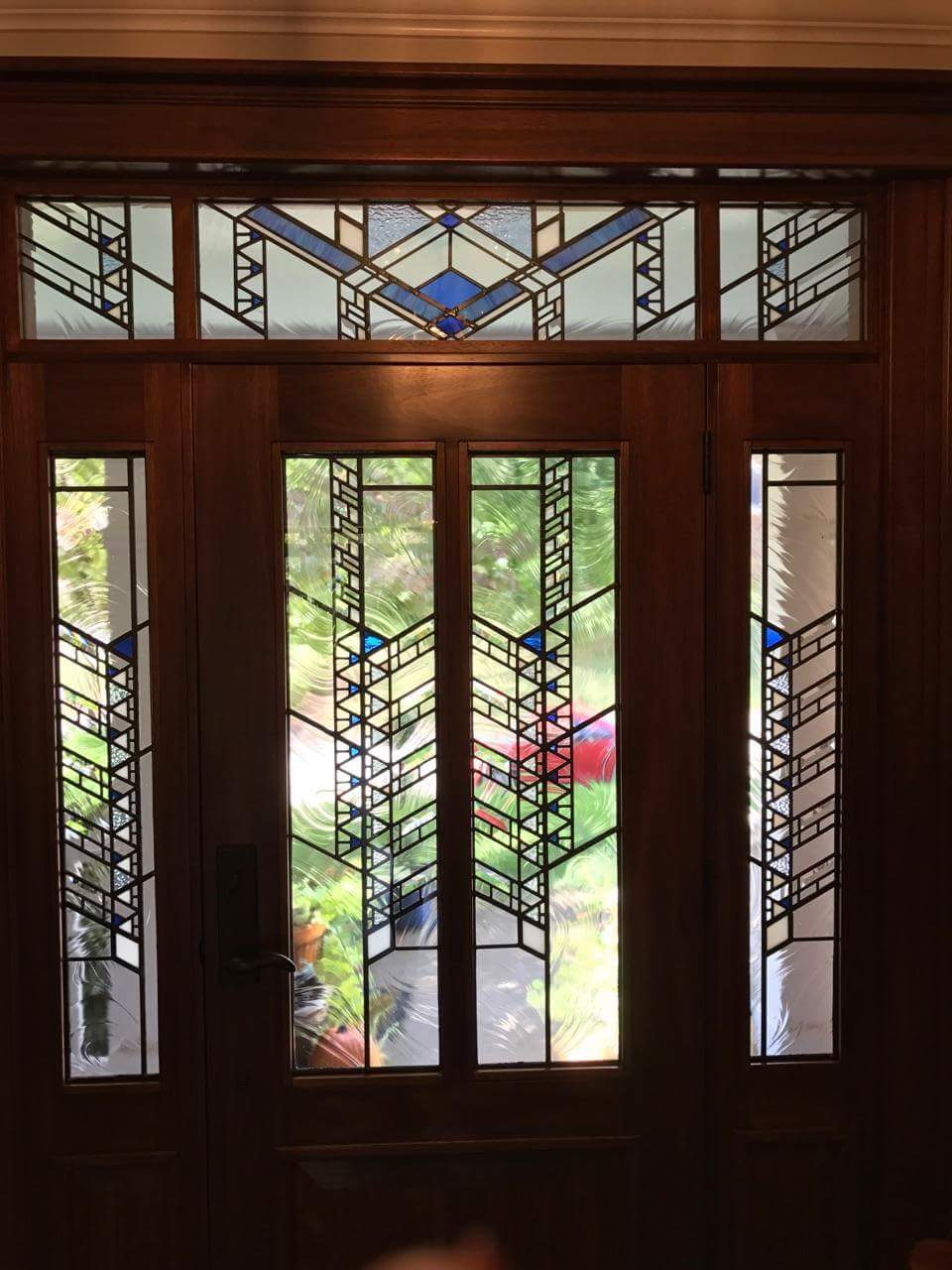 Months ago we designed and fabricated this Frank Lloyd Wright leaded glass door. Chad Lange designed and built the door. In May the client asked us to ... & Frank Lloyd Wright Style Leaded Glass   Laura Goff Designs