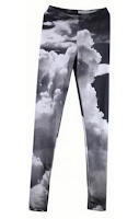 Black and White Cloud Galaxy Legging