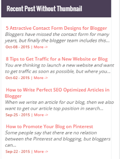 Recent Posts Widget Without Image Thumbnail For Blogspot
