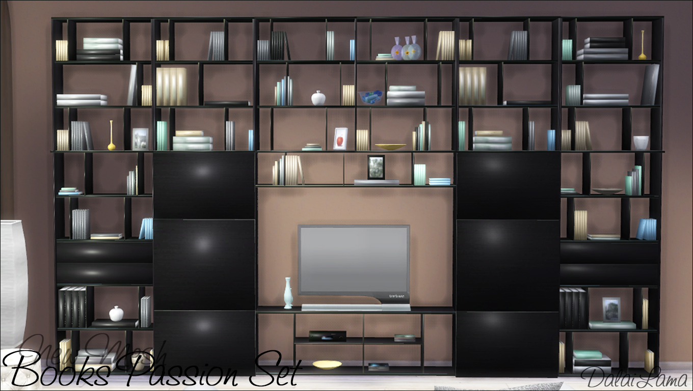 Very Impressive portraiture of My Sims 4 Blog: Books Passion Shelves and TV Stand by DalaiLama with #7D714E color and 1360x768 pixels