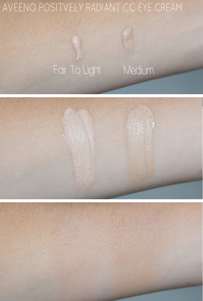 aveeno postively radiant cc eye cream fair to light and medium swatches