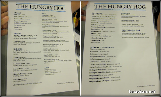 The Hungry Hog restaurant menu