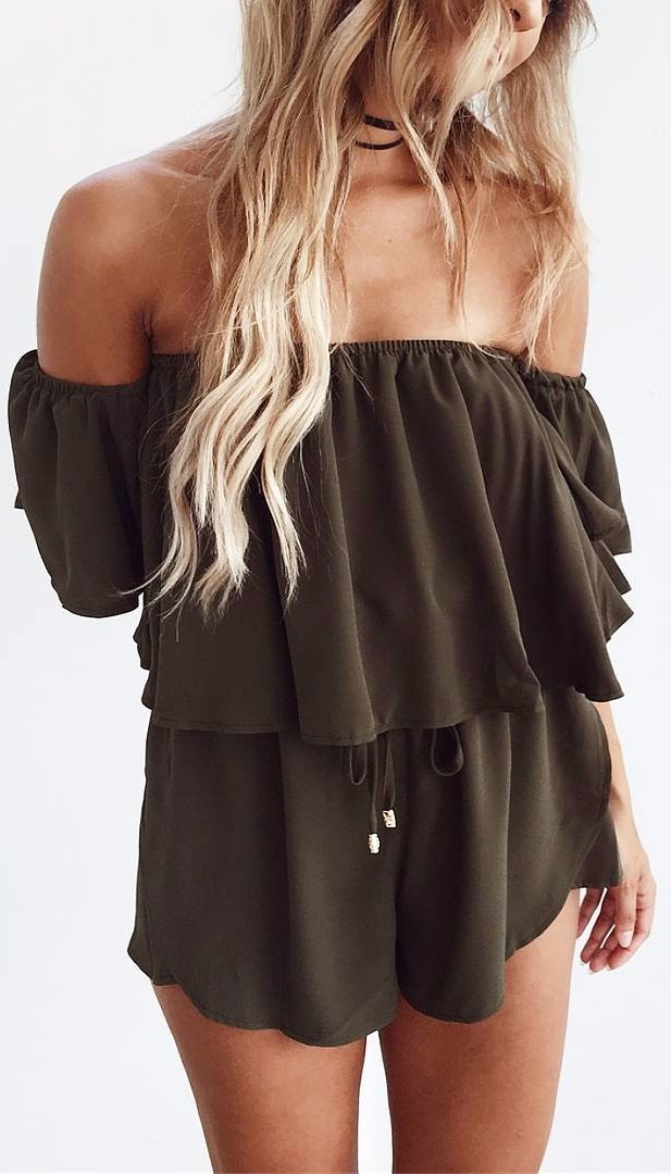 khaki perfection - off-shoulder romper