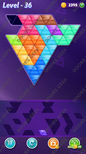 Block! Triangle Puzzle Master Level 36 Solution, Cheats, Walkthrough for Android, iPhone, iPad and iPod