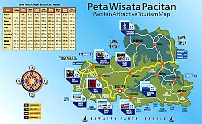 Peta Lokasi Wisata kabupaten Pacitan: