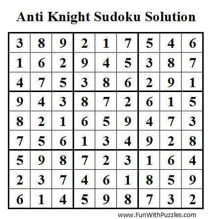 Anti Knight Sudoku (Daily Sudoku League #40) Solution