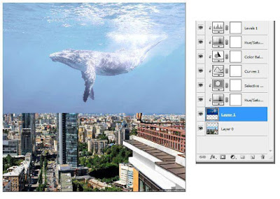 Cara Edit Foto Ikan di Langit  Seperti Video Clip Coldplay Up & Up dengan Photoshop