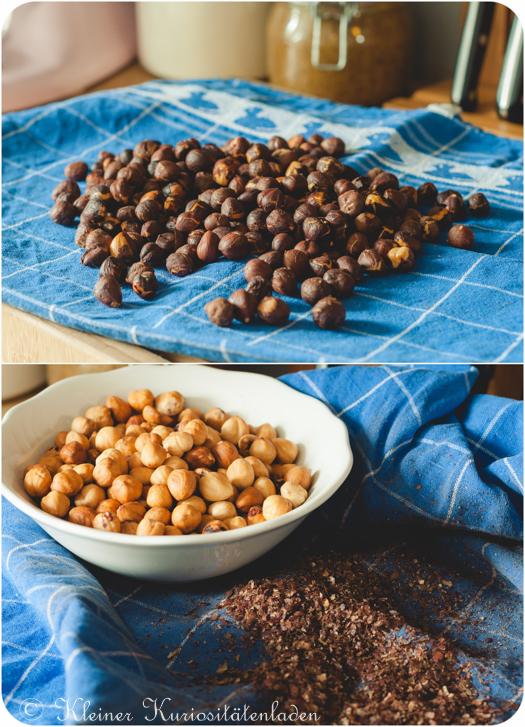 Geröstete Nüsse vor und nach dem Pulen