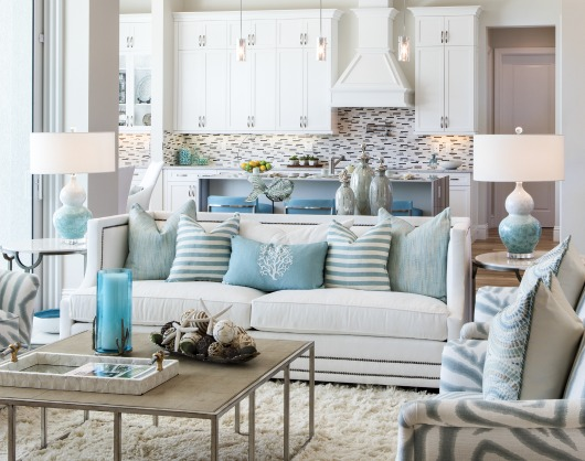 Cozy chic coastal living room in white aqua gray shop the look