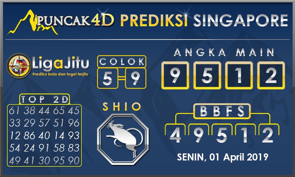 PREDIKSI TOGEL SINGAPORE PUNCAK4D 01 APRIL 2019