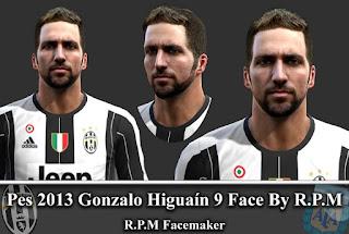 Face Gonzalo Higuain - Juventus PES 2013