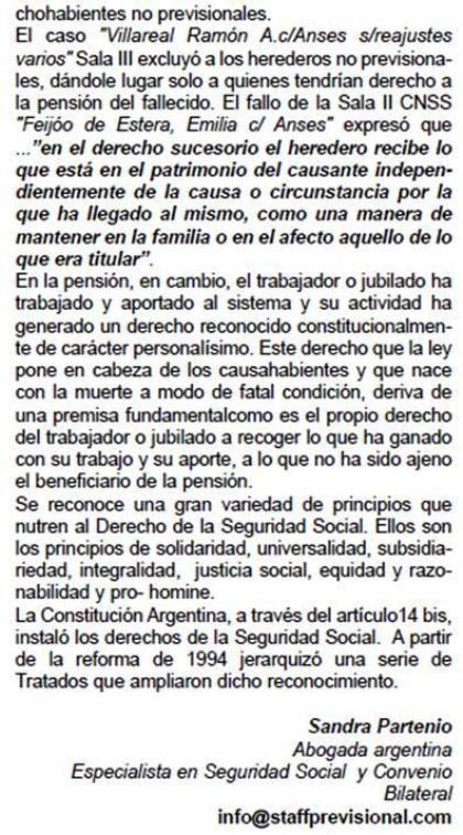 Sandra Partenio: Derecho Previsional de los Herederos