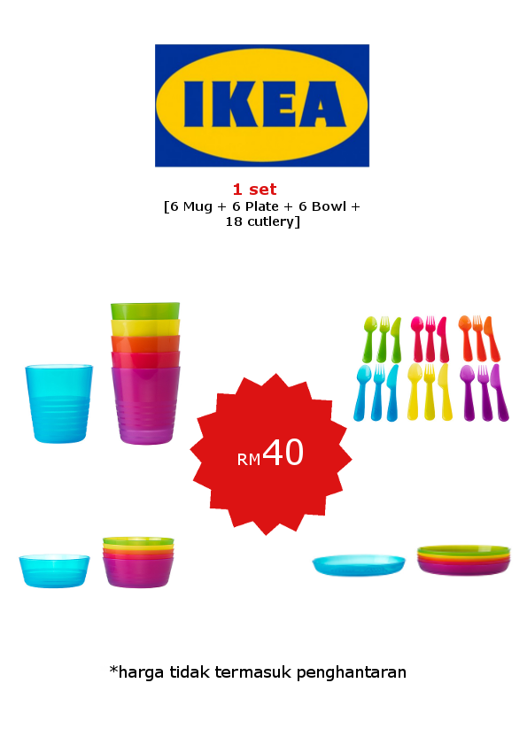 P.S. Ikea Children's Tableware: Set Lengkap Pinggan