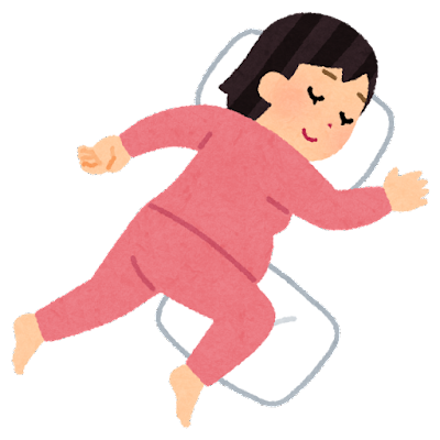 シムズの姿勢で寝る妊婦のイラスト