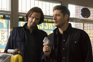 "Jared Padalecki as Sam Winchester and Jensen Ackles as Dean Winchester in Supernatural 14x13 ""Lebanon"""