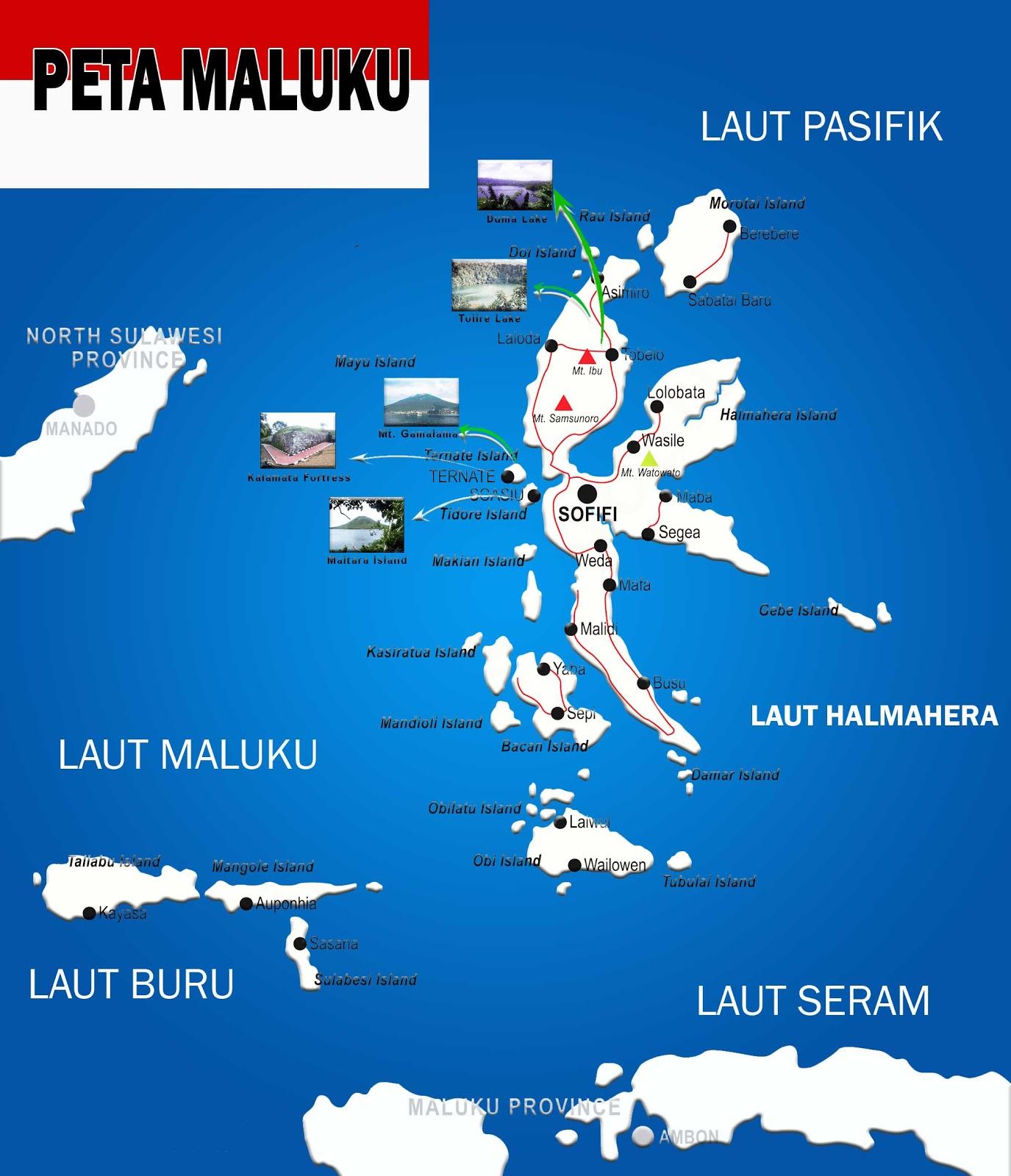 Peta Maluku lengkap nama Pulau