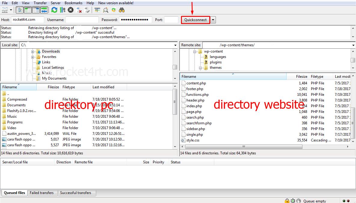 Cara Menggunakan, Mengakses FTP Dengan FileZilla