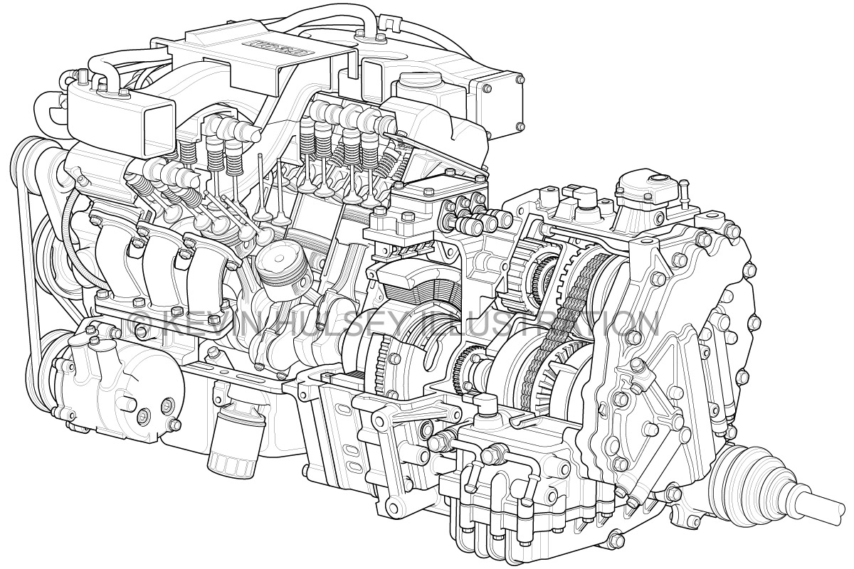 Gsu 2d Design Line Art Of V6 Hybrid Engine Cutaway By