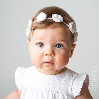 Couronne de fleur bébé fille roses blanches