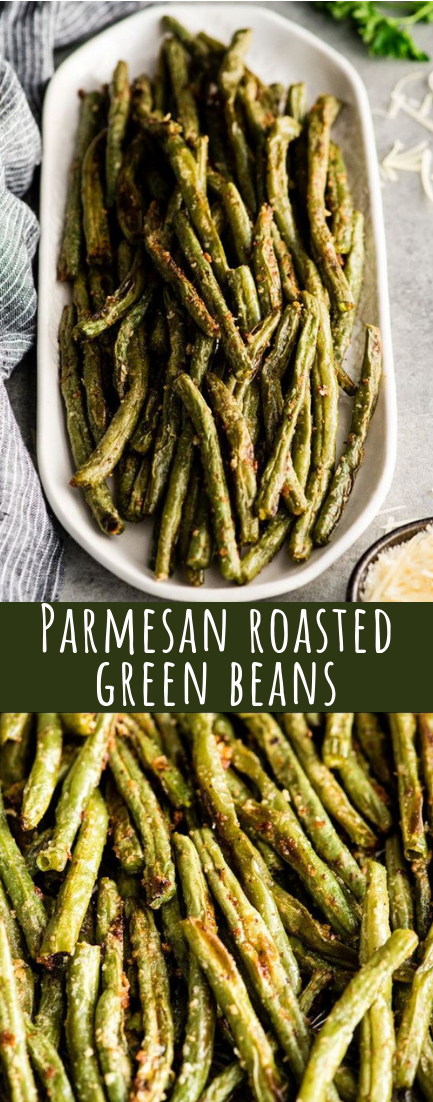 Parmesan roasted green beans #vegan #recipeeasy