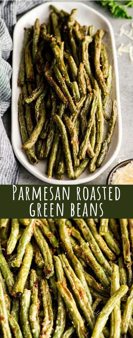 Parmesan roasted green beans #vegan #recipeeasy
