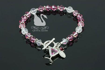 Cosmopolitan Pink Rose Quartz Gemstone Beaded Crystal Allure Bracelet (B181)   Crystal Allure Beaded Jewelry Creations