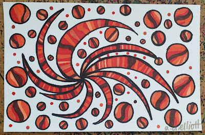 A pen and ink doodle meditation in oranges and reds and a blurb about wolves.