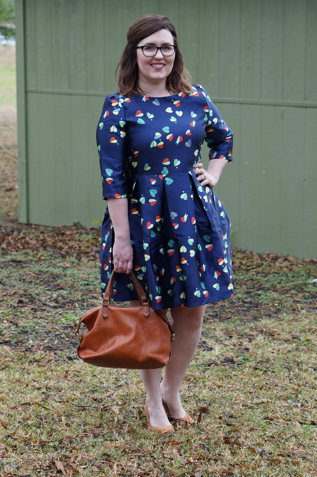 Rebecca Lately Navy Heart Dress Madewell Kensington Satchel Forever 21 Cognac Pumps