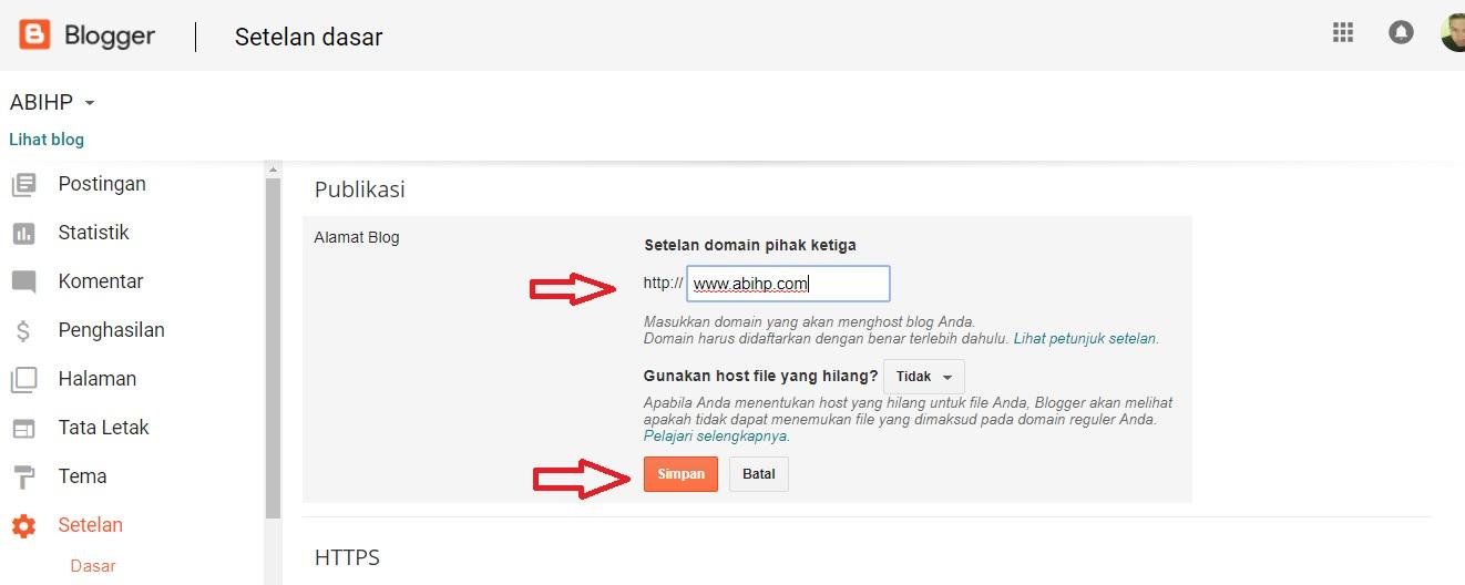 Lalu pilih simpan setelah anda memasukkan nama domain tadi.