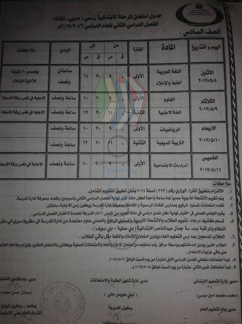 جدول امتحانات الصف السادس الابتدائي 2017 الترم الثاني محافظة بني سويف