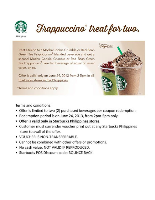Starbucks Philippines Frappuccino,buy 1 take 1,offer