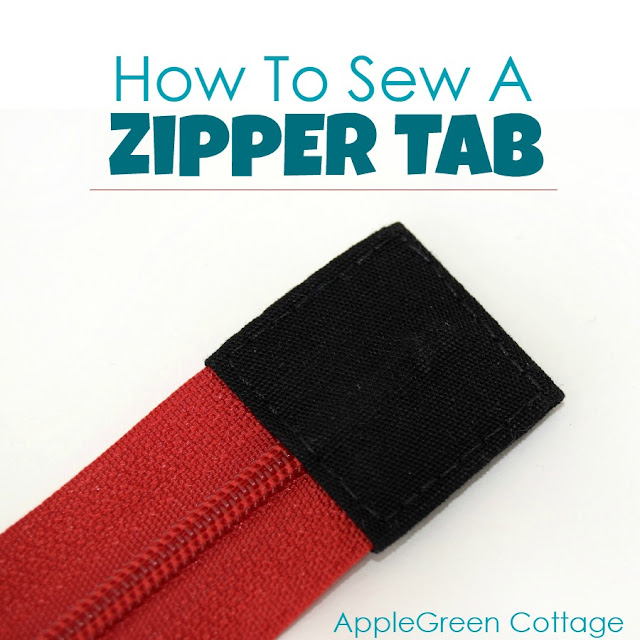 How to sew a zipper tab to one end of a zipper. An easy sewing tip that will make your zipper pouch or bag look more polished and professional