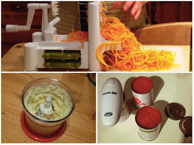 Gadgets: Spiraliser, Chopper, Hands-Free Can Opener
