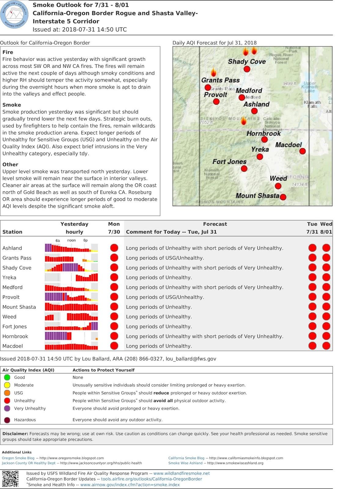 tues july 31 california oregon border smoke outlook