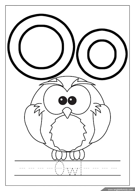 Letter o coloring, owl coloring, alphabet coloring page