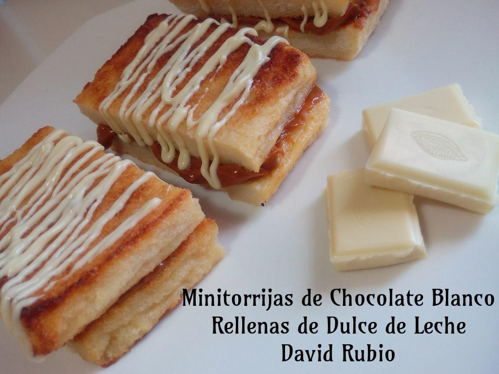 Minitorrijas de Chocolate Blanco y Rellenas de Dulce de Leche