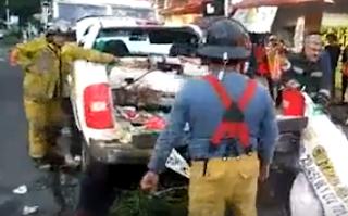 Explota tanque de gas de una camioneta durante peregrinacion en Nogales Veracruz