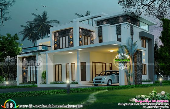 5 bedroom luxurious contemporary model flat roof house.