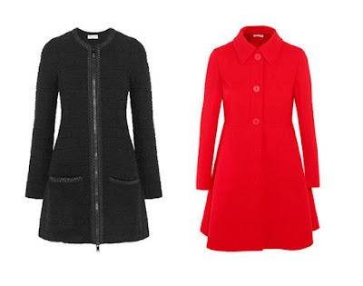 Черное и красное приталенные пальто