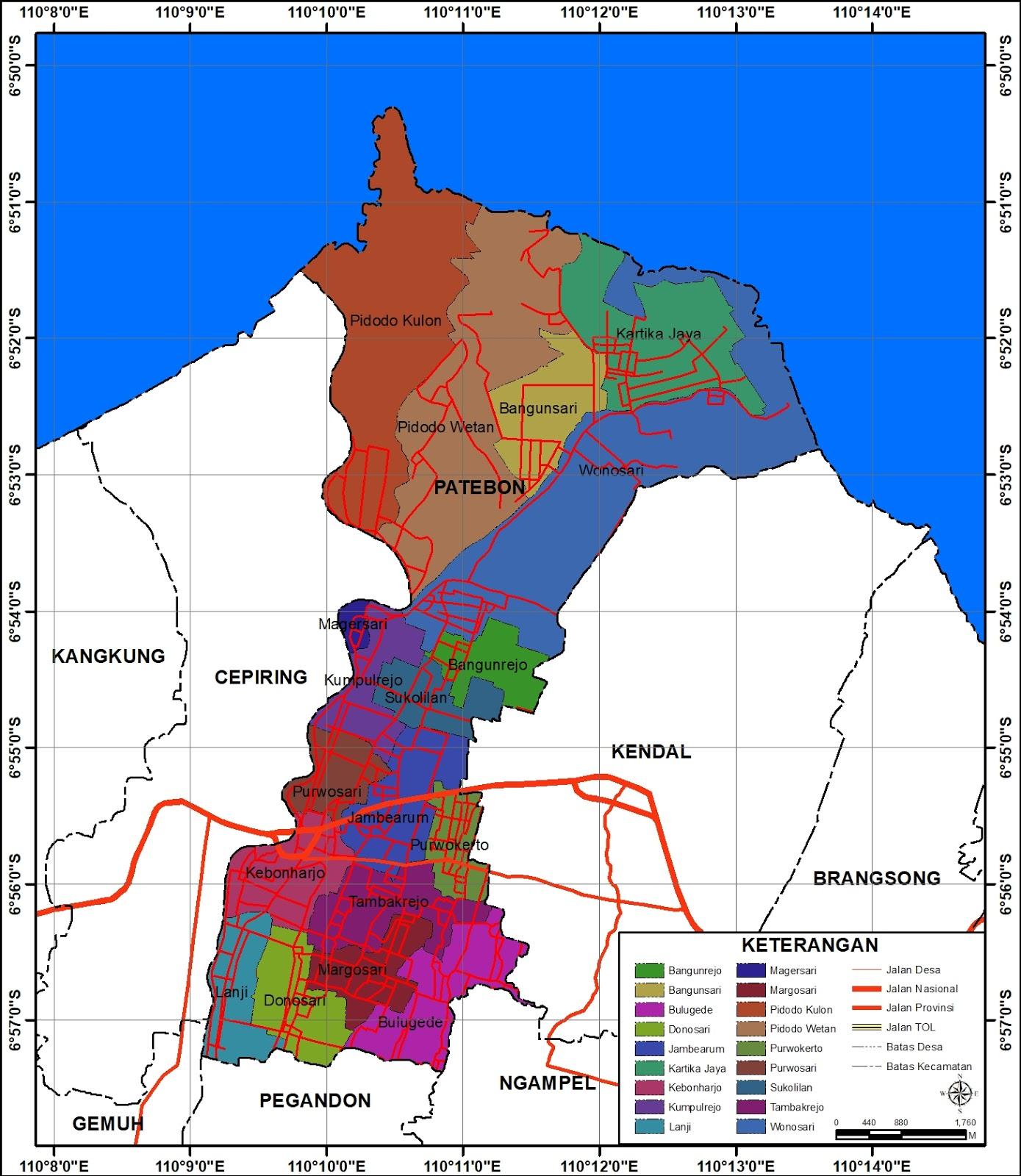 Peta Administrasi Kecamatan Patebon, Kabupaten Kendal ...