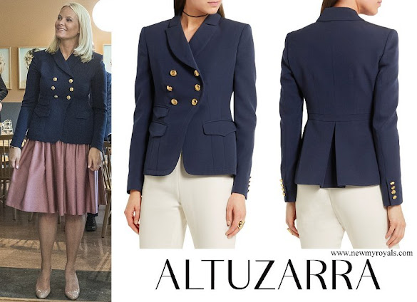 Crown Princess Mette-Marit wore ALTUZARRA Seth double-breasted wool-gabardine blazer