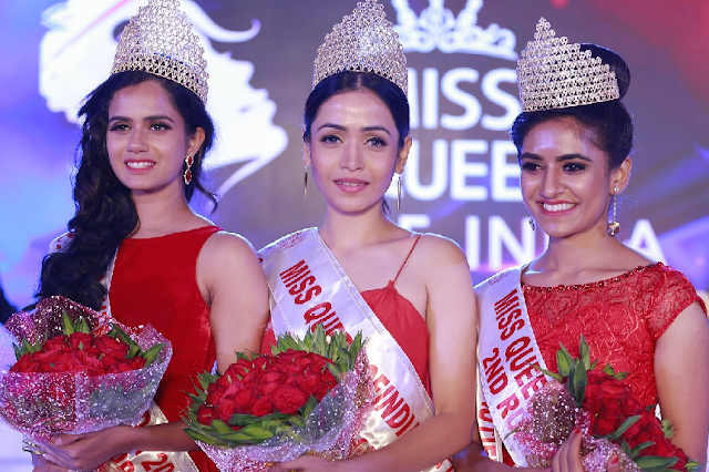 Winners of Miss Queen of India 2017- Akanksha Mishra  (center)  title winner  of Manappuram Miss Queen of India 2017. Reshma RK Nambiar  first runners up (left) and  Varna Sampath -second rinner up(right)