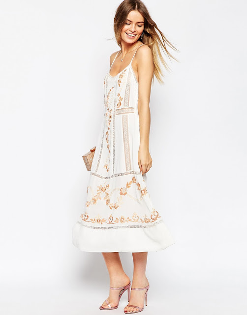 asos premium white embroidered midi dress, cream embroidered slip dress,