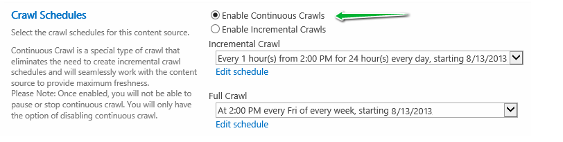 sharepoint 2013 enable continuous crawl powershell