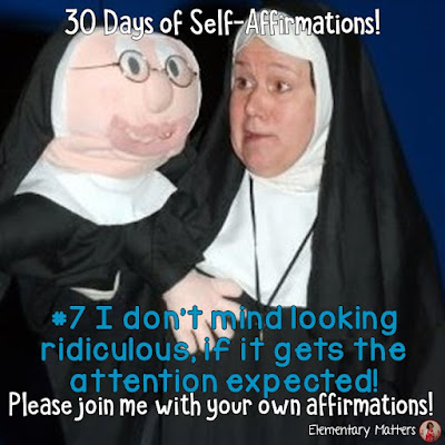 "Day 7: I don't mind looking ridiculous if it gets the attention expected! 30 Days of Self-Affirmations: Day 7:  For 30 days, I will be celebrating my own ""new year"" with self-affirmations. Won't you join me? http://bit.ly/2kKBhAE"